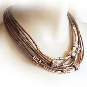 Lagenlook Rose Gold Colour Multi-Corded Tube Necklace from Timeless Season
