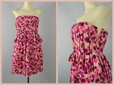 New Vera Wang Lavender Label strapless pleated peplum floral dress cotton silk 8