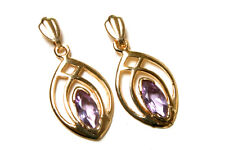 9ct Gold Amethyst Celtic Drop dangly earrings Made in UK Gift Boxed