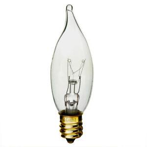 12V Low Voltage E12 Candelabra Base Decorative Clear Flame Tip Light Bulb