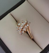 TEMPO 14K YELLOW GOLD ELEVATED .27 TCW ROUND DIAMOND CLUSTER RING - 2.8 GRAMS