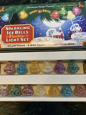 Christopher Radko Shiny-Brite Sparkling Ice Bells light Set of 12 (Retired) Box