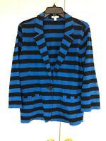 Caslon Womens XL Knit Blazer Black Blue Striped One Button Pockets
