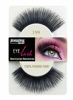 Amazing Shine 100% Human Hair False Eyelashes Style 675 - 199 Long Natural Black