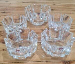 Orrefors Crystal Bowls - Lars Hellsten- corona set of 5 - deceased estate