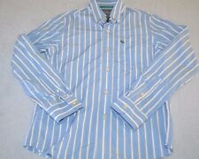 Boys size Large abercrombie Striped button front shirt Striped Blue and white