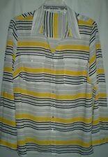 Notations Multi Yellow Semi Sheer Adj Roll Tab Sleeve Button Blouse Shirt Top 1X
