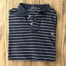 Polo Ralph Lauren Pima Soft Touch Striped Blue Polo Shirt Size XL #13583