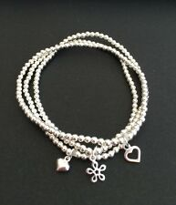 3 Sterling Silver Stacker Stretch Bracelets Puffed Heart Daisy Flower Charms Uk