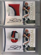 2) 2010 National Treasures Carson Palmer Colossal 3 Clr Patch Auto #1/2 Lot