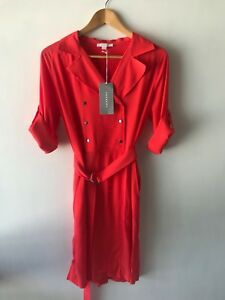 [CR LOVE] SZ 12 NEW! [TRENERY BY COUNTRY ROAD] TRENCH DRESS 'SALSA RED' - M