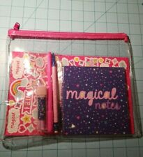 Made For Retail Brand: Clear & Glittery Zipper Pouch and Stationary Set - New