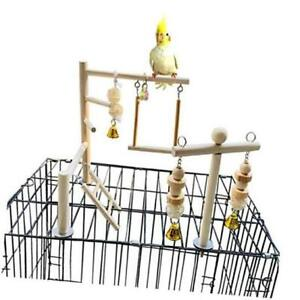 Bird Playground Parrot Play Gym Parakeet Cage Play Stand Wooden Perches Toy