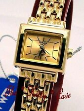 Gold Plated Case Rectangle Analogue Wristwatches