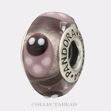 Authentic Pandora Silver Murano Lavender Ladybugs Bead 790652  *RETIRED