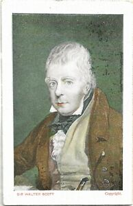 Sir Walter Scott, a nice old used coloured postcard