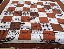 "Vintage ROMAN GONDALAS Brown Black White PURE SILK 33"" x 33"" SCARF BY KIMBALL"