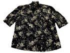 Womens Vintage 70s 80s Black White Splash Print Cotton Blouse Retro Boho 14