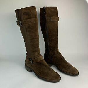 AQUATALIA Knee High Riding Harness Boots Brown Suede Plaid Zip Sz 10 EUC $595