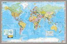 Weltkarte DEUTSCH  Pinnwand 60 x 90 cm World Map Pinwand Pinnboard Korkboard