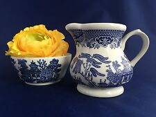 Churchill Blue Willow Cream and Open Sugar Bowl Vintage Pottery England
