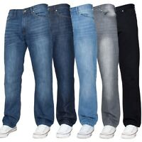 Mens Straight Leg Jeans Regular Fit Denim Trousers Pants All Big Waist Sizes