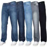 Enzo Mens Straight Leg Jeans Regular Fit Denim Trouser Pants All Big King Sizes