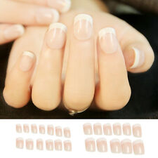 24 x Women Stylish Art French Short Full Cover False Nails Tips Manicure Glue