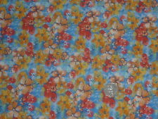 VISCOSE STRETCH JERSEY - BLUE/GOLD FLORAL - DRESS FABRIC - 4 METRES