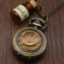Drink Me Wishing Bottle Pocket Watch Alice In Wonderland Long Necklace Fashion