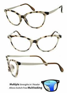 Fashion Cat Eye Progressive Reading Glasses 3 Power Strengths in 1 Reader