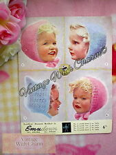 Vintage 50s Knitting Pattern 4 Styles Of Sweet Bonnets For Baby. FREE POSTAGE!!!