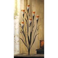 LARGE peach flower Candelabra floral modern art metal sculpture Candle holder