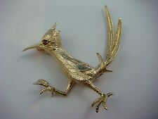 "Moving Brooch With Ruby, 9.7 Grams Solid 14K Yellow Gold ""Road Runner"""