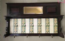 Period Victorian Hall Piece with Art Nouveau Tiles and Bevelled Mirror