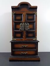 Vintage Armoire Hutch Wooden Cabinet Jewelry Box Doors and Drawers Ornate Brass