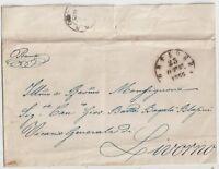 ITALIA 1855 PREFILATELICA DA PONTEDERA PER LIVORNO