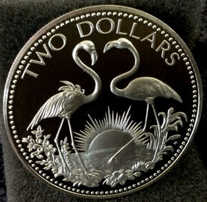 Large World Silver Coin - Unc. 1974 Bahamas 2 Dollar Proof #351