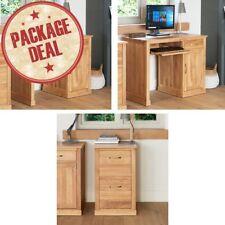 mobel solid oak furniture computer desk and two drawer filing cabinet package