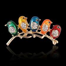 Enamel Five Birds Rhinestone Crystal Brooch Pin DIY Bouquet Vintage Style Y