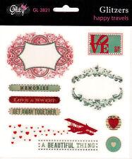 Glitz Design Happy Travels GLITZERS Clear Stickers w/Gem Scrapbook Planner