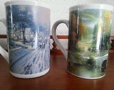 2 Thomas Kinkade Oversized Ceramic Mug/Cups Hometown Christmas Memories Cottage
