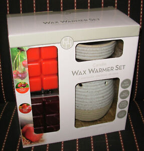 HH Candle Wax Warmer Set Spiced Apple - Tropical Cherry Ceramic Body & Dish Aldi
