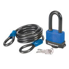 Silverline 701442 boucle en acier câble de sécurité/Weatherproof Padlock Set 2pc