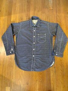 Post Overalls O'Alls The Post-R Shirt Indigo Atom Calico Print Size M