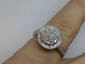 New 50 point Diamond Cluster Ring Half Carat White 9 Carat Gold  Size O .50