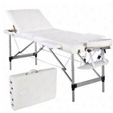 NEW Aluminum 3 Fold Portable Massage Table Facial SPA Bed Tattoo White w/Case