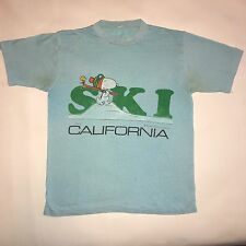 Vintage Snoopy Peanuts Ski California Shirt 1965 PAPER THIN Sz S/M Worn In