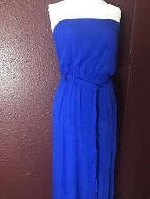 NEW Anthropology Maxi Dress Royal Blue Strapless Boho Tie Side Slit Fix SZ L