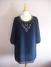 NEXT Petite Size 14 Navy Blue + Black Beaded 3/4 Sleeved Short Tunic Dress